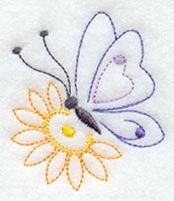 Butterfly and Flower (Vintage) design (C5282) from www.Emblibrary.com