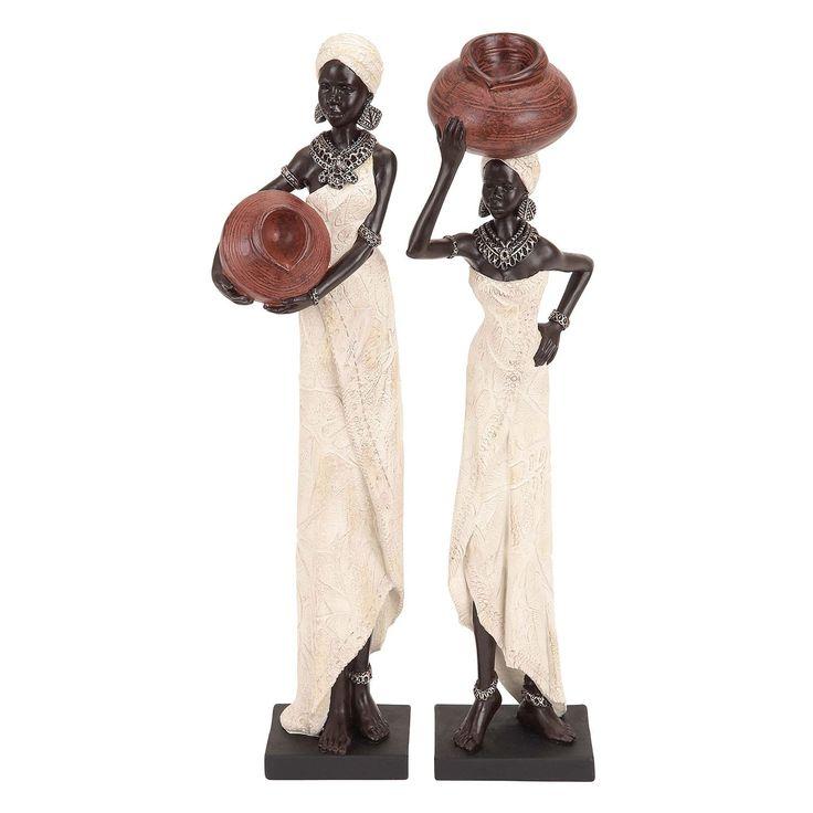 Studio 350 Table Top Polystone African Sculptures Set