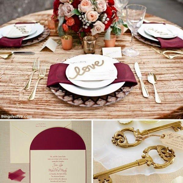 Fall Wedding Inspiration in Burgundy & Gold