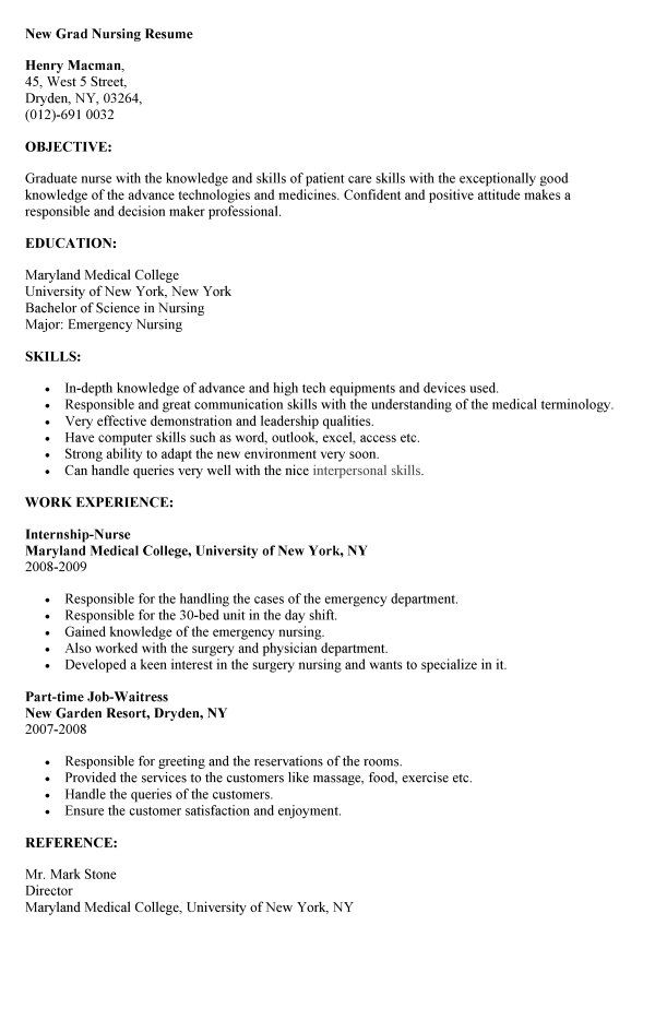 New Grad Nursing Resume  Objective For Nurse Resume