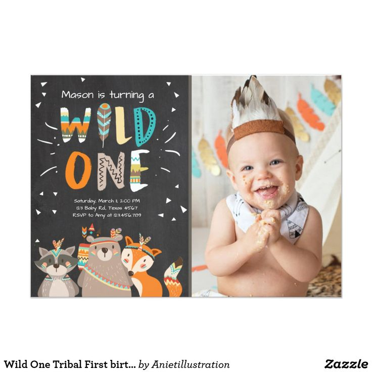 first birthday invitation for my son%0A Wild One Tribal First birthday invitation Woodland