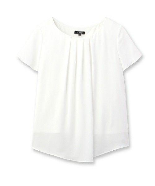 INDIVI(インディヴィ)の【UV、接触冷感、抗菌防臭】シフォンタックブラウス(Tシャツ/カットソー)|ホワイト