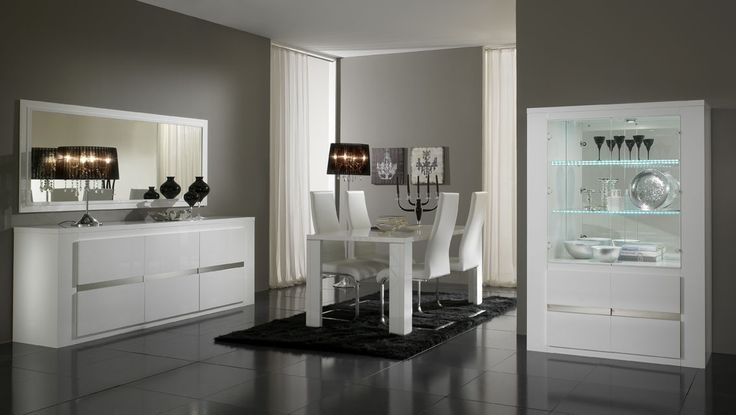 Salle à manger design complète laquée blanche Diva - Salle à manger design moins cher - VIVABITA