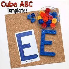Print these for your literacy center. Young children can make each of the upper case letters using cube letter templates.