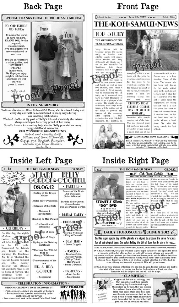 The  Best Wedding Newspaper Ideas On   Day News
