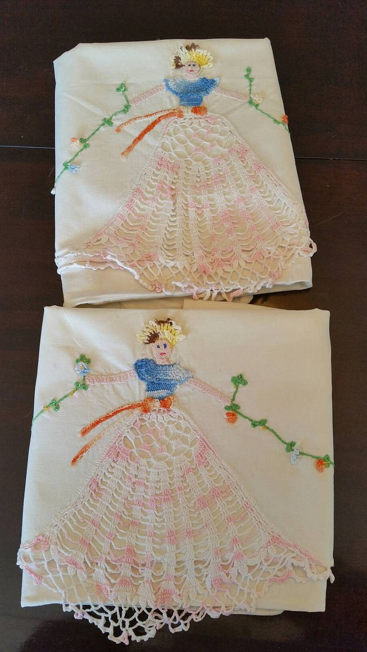 Vintage pillow cases,FREE SHIPPING, Embroidered floral pattern, crocheted lace lady in dress, handmade pillow cases, antique pillow cases by TreasurehunterCoShop on Etsy