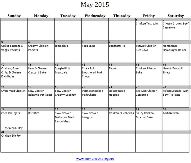 Blank Calendar Kid Friendly : May monthly meal plan with printable calendar family