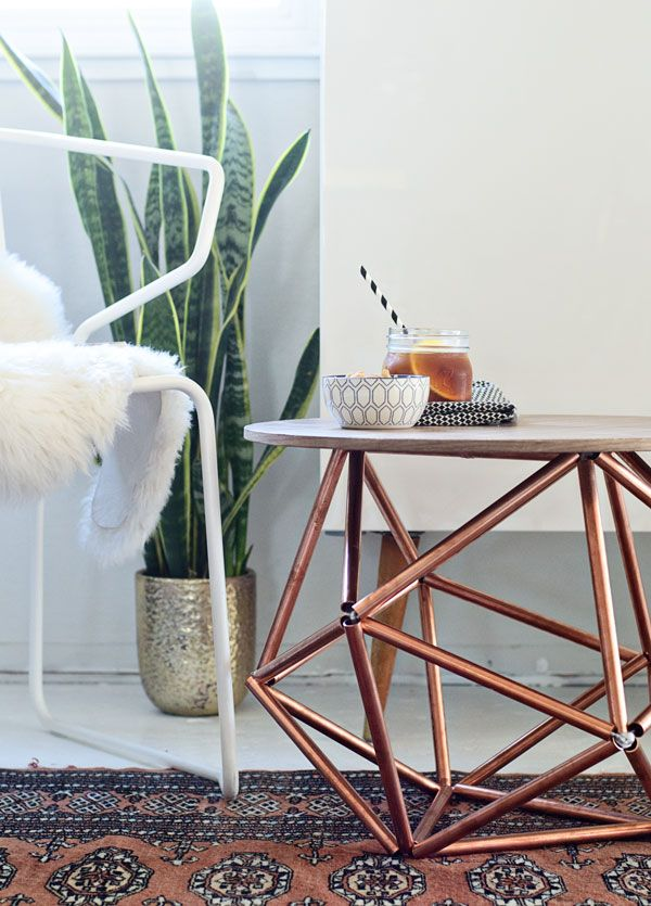 DIY Side Table With Himmeli Base of Copper Pipe
