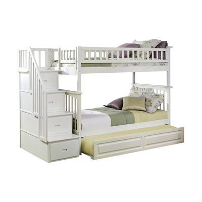 Atlantic Furniture AB55632 Columbia Staircase Bunk Bed with Trundle
