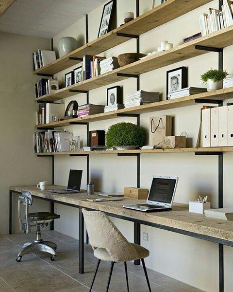 Adoramos esse estilo de estrutura aparente nos móveis... ❤ bom dia! {foto via Pinterest} #cdaescritorios #escritorio #homeoffice
