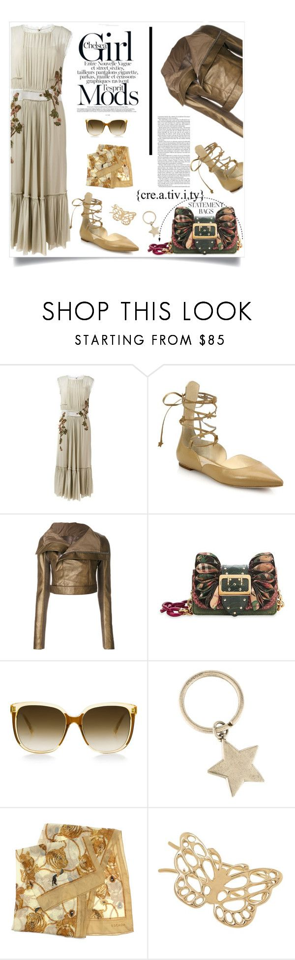 """""""..."""" by hani-bgd ❤ liked on Polyvore featuring Alberta Ferretti, Isa Tapia, Rick Owens, Burberry, Nicole, Steven Alan, Tiffany & Co., ESCADA, dress and bags"""