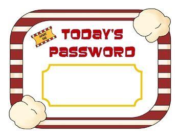 popcorn themed classroom | Today's Password Hollywood Movie Popcorn Theme