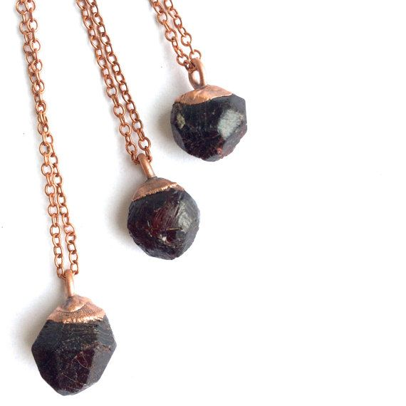 Real garnet necklace Garnet crystal necklace Raw by HAWKHOUSE