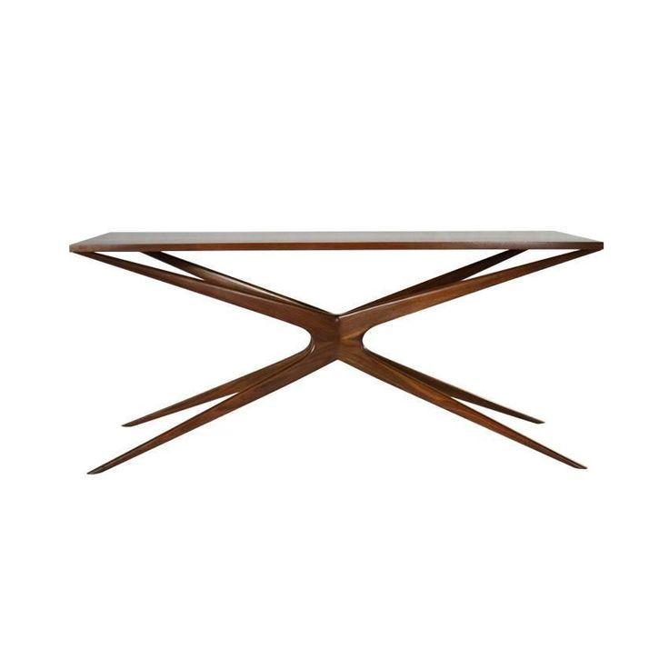 Sculptural Walnut Gazelle Console Table