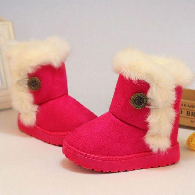 2017 Recién Llegado de Otoño Invierno de Los Niños Gruesos Zapatos Calientes de la Felpa niñas Botas de Nieve Niña Botines de Tobillo Zapatos de Los Niños 4 Colores WJ0588