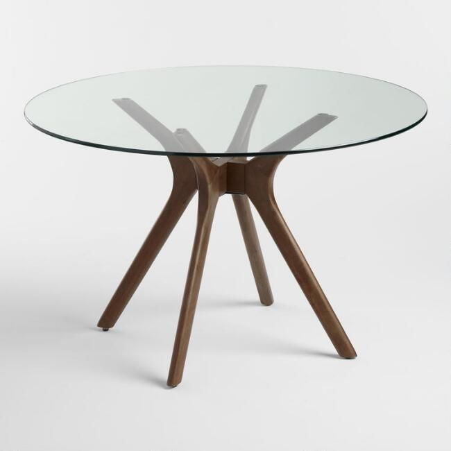 Round Wood and Glass Briana Table - v1