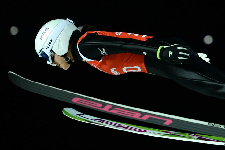Description of . Japan's Sara Takanashi attends the 1st Jump at the Women's Ski Jumping Normal Hill Individual official training at the RusS...