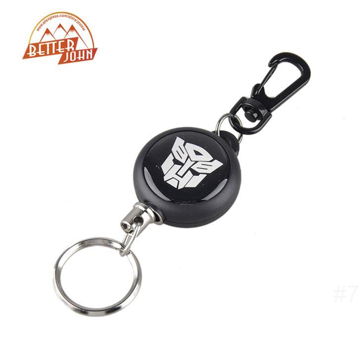 Hot Sale EDC Outdoor Camping Steel Rope Burglar Keychain Stalker Soft Shell Tactical Retractable Key Chain Key Return Keyring