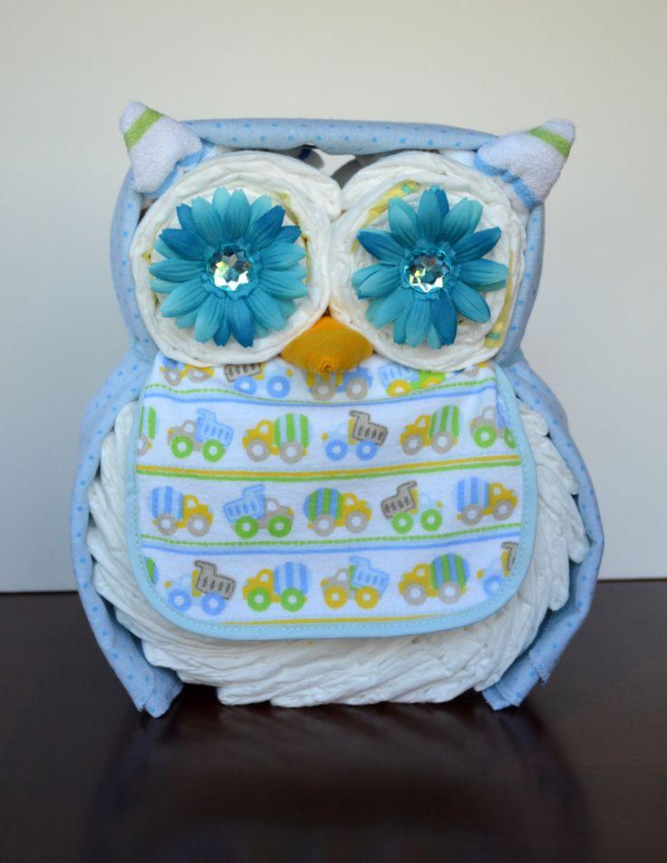 Boy, Girl, or Neutral Owl Diaper Cake - Baby Shower Gift ...
