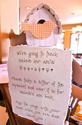 """Cute idea for the baby shower: our """"craft"""" was coloring an alphabet page for baby's first abc book!"""