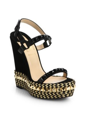 Christian Louboutin - Cataclou Studded \u0026amp; Braid-Trimmed Wedge ...