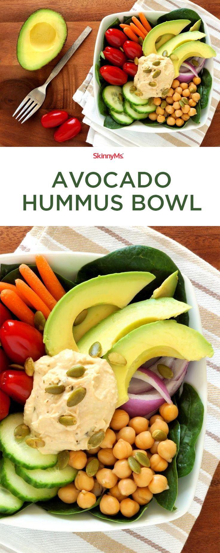 This Avocado Hummus Bowl is so flavorful and addictive! #skinnyms #hummus #yum