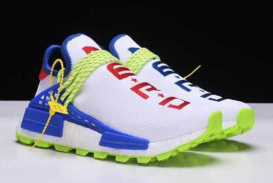 "0b48d41093af7 2018 Pharrell x NMD Human Race Trail ""Homecoming"" White Blue Red EE6283"