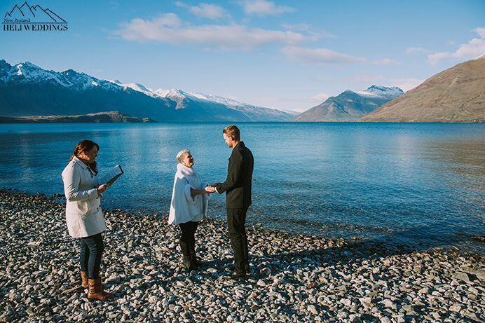 Queenstown 4wd wedding package with lakeside ceremony bride and groom have friend read a poem during ceremony