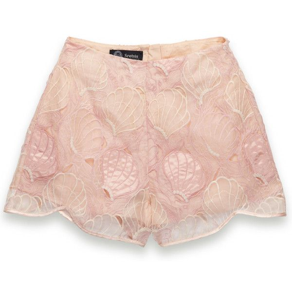 Freida Lace Shorts by Sretsis at Maximillia ($473) ❤ liked on Polyvore featuring shorts, bottoms, pants, pink, lace shorts, sretsis, lacy shorts, pink shorts and pink lace shorts