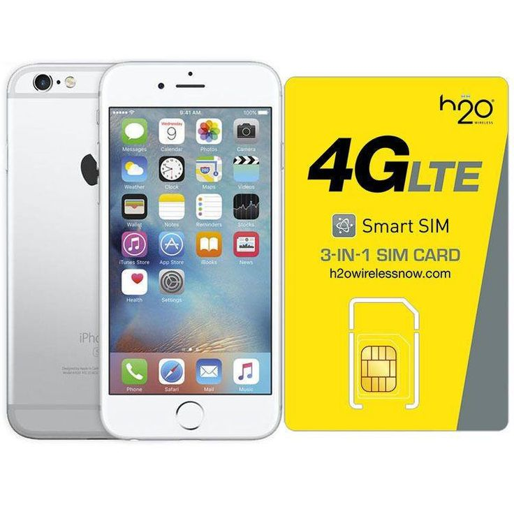 Refurbished iPhone 6 Plus Silver AT&T 128GB & H20 4G LTE SIM Card (1GB Data Included)
