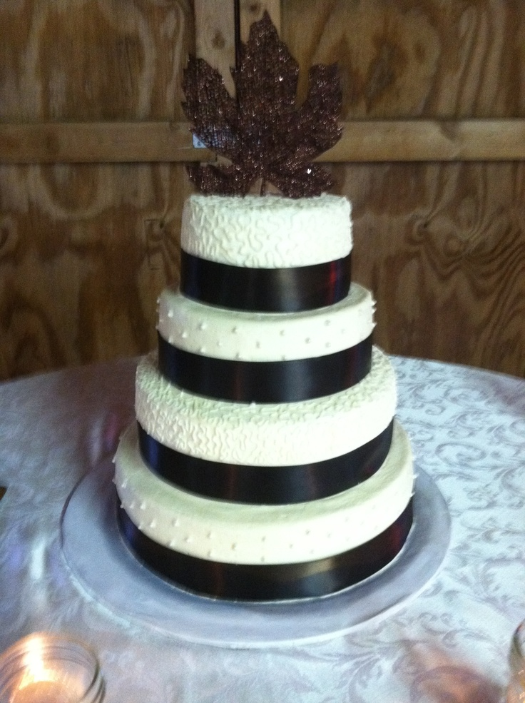 Simple & Elegant 4 Tier Butter Cream Wedding Cake with Ribbon.