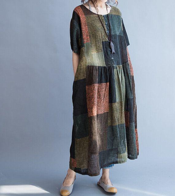 Vestito di estate abito donna larghi Abito lino lungo di MaLieb