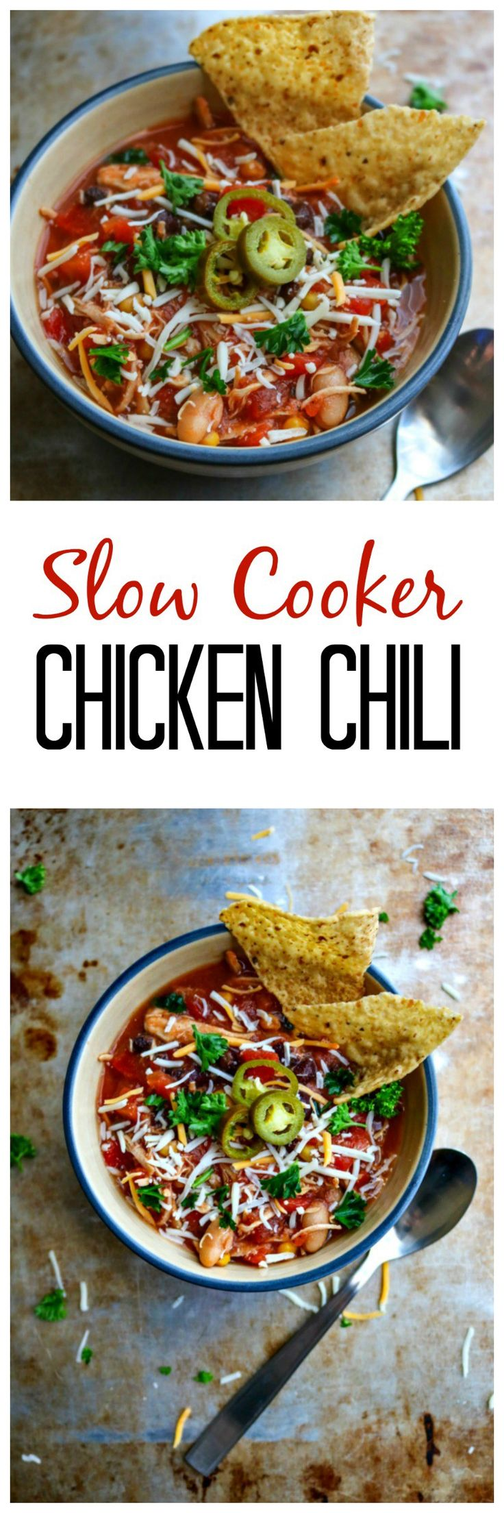 Crockpot Chicken Chili: A truly dump and forget about it meal that is full of southwestern flavors and is a perfect cross between a hearty chili and filling soup.