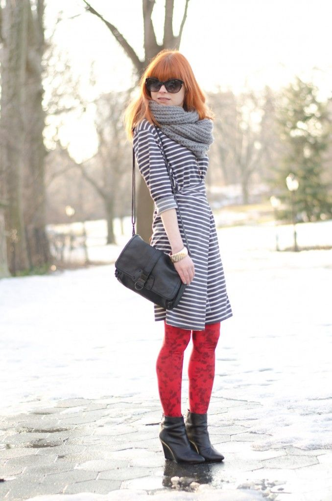 NowIStyle striped dress H+M tights Dior sunglasses on http://whatpixieswear.com