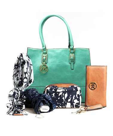 Look at this #zulilyfind! Turquoise Morgan Tote & Essentials Set #zulilyfinds