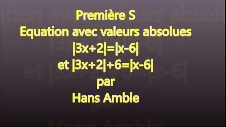 1S- Valeur absolue - Equation - |3x+2|+6=|x-6|