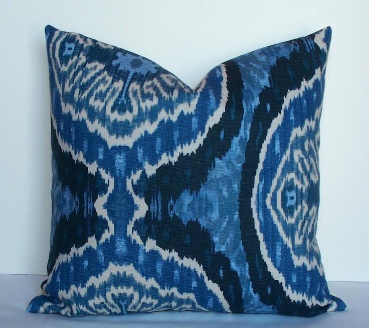 Indigo Blue Ikat Fabric Decorative Ikat pillow cover - 20x20 blue - denim - cream - indigo ...