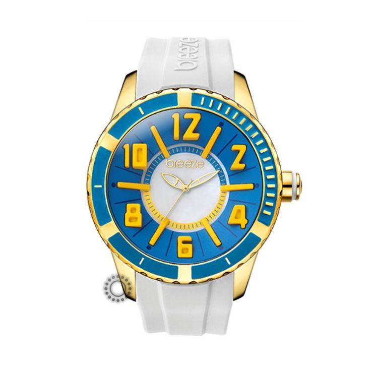 110141.12 Γυναικείο fashion ρολόι της BREEZE από τη σειρά Westside Connection με λευκό καουτσούκ και μπλε καντράν. Αποστολή εντός 24 ωρών.