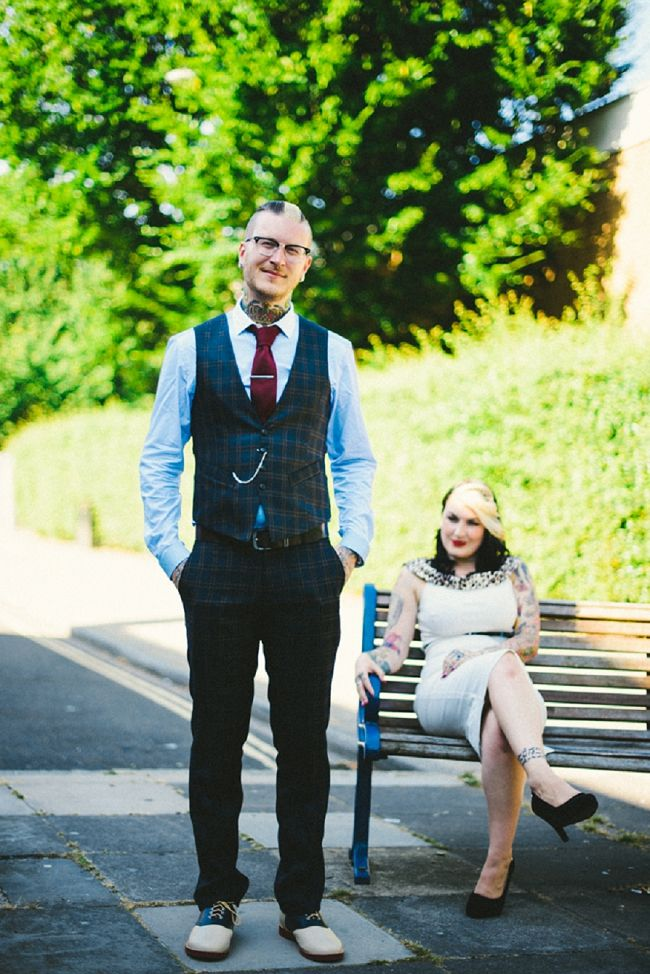 Waistcoat. Groom portraits. A Red, Black And White Rockabilly Wedding Full Of Skulls And Tattoos. Copyright Ed Godden Photography.