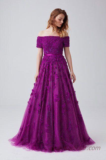 f71458db41315 2019 Abiye Elbise Modelleri Mor Uzun Omzu Açık Düşük Kol Kumaş Çiçek  İşlemeli