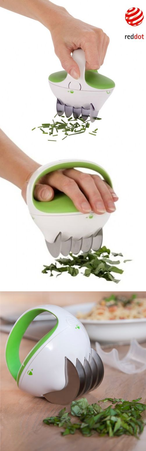 Fastcut Herb Chopper Tool // winner of a Red Dot Design Award, it has five ultra-sharp cutting wheels to quickly & effortlessly slice through stalks, stems and leaves #product_design #industrial_design