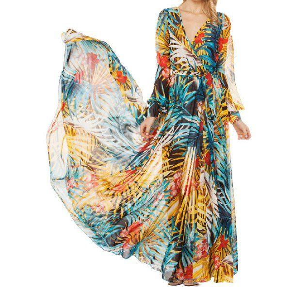 113b0732359dd Boho Printed Long Sleeve Maxi Summer Swing Dress