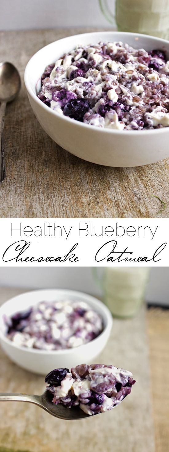Healthy, Gluten Free Blueberry Cheesecake Oatmeal - This is my FAVORITE breakfast! It tastes like cheesecake, but is healthy and ready in 15 mins! | Foodfaithfitness.com | @FoodFaithFit