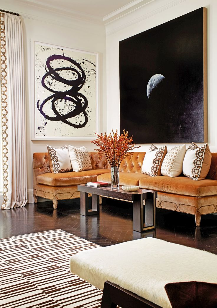 Brown And White Striped Rug In New York Living Room Designed By Christina  Murphyu2026