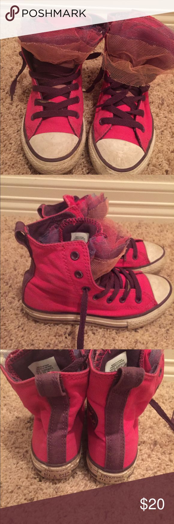 Girls Converse high tops Girls Converse High Tops. Pink with Purple laces and trims. Multi colored tulle tongues. Fun and flirty! Sz 13. Converse Shoes Sneakers