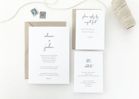 Papier Muster Rebecca Simple Hochzeit Einladung / Save the Date / Kraft Rustic Hochzeit Einladung / Invite / Buchdruck Hochzeit Einladung