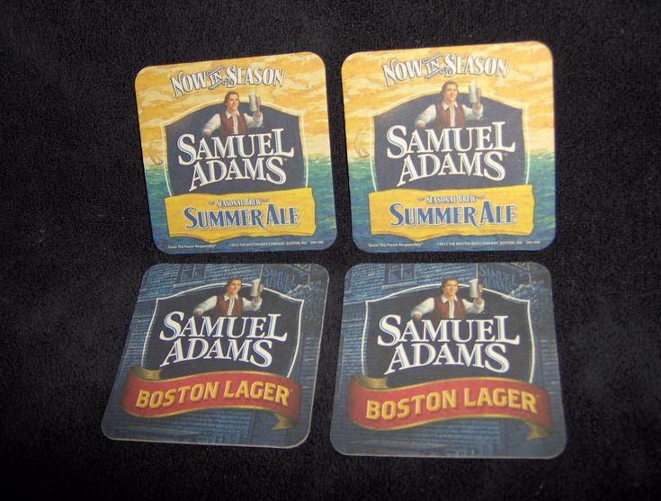 Samuel Adams Summer Ale Boston Lager Beer Coaster, Beer Mat, Lot Of 4