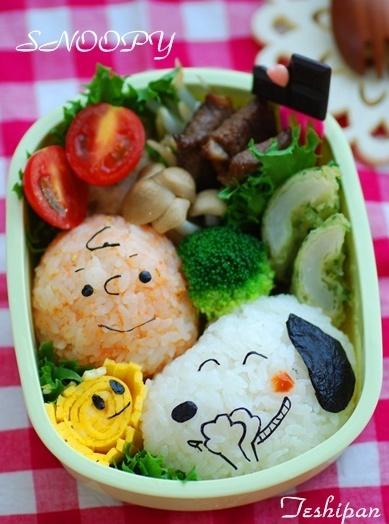Snoopy, Charlie Brown & Woodstock Bento