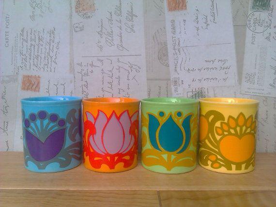 Vintage Retro Staffordshire Kiln Craft Mugs by EnglishCountryHouse, £40.00
