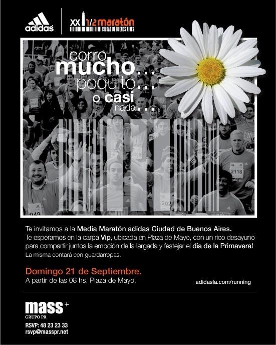 Publicidad Media Maraton Ciudad de Buenos Aires, Adidas. Para 5 Yardas.